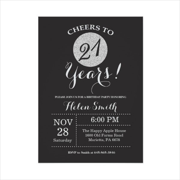 Black and Silver Birthday Invitation