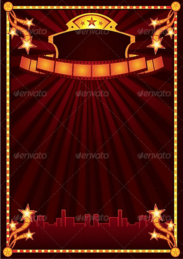 Blank Red Curtain Cinema Announcement Template