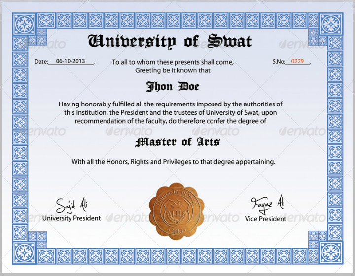 blue border degree master of arts certificate template