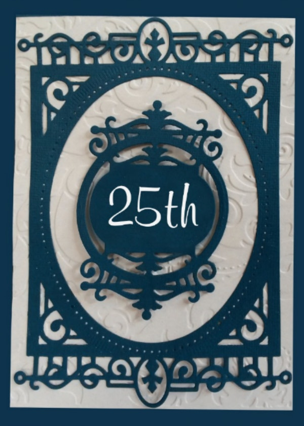 Blue Patterned 25th Birthday Card