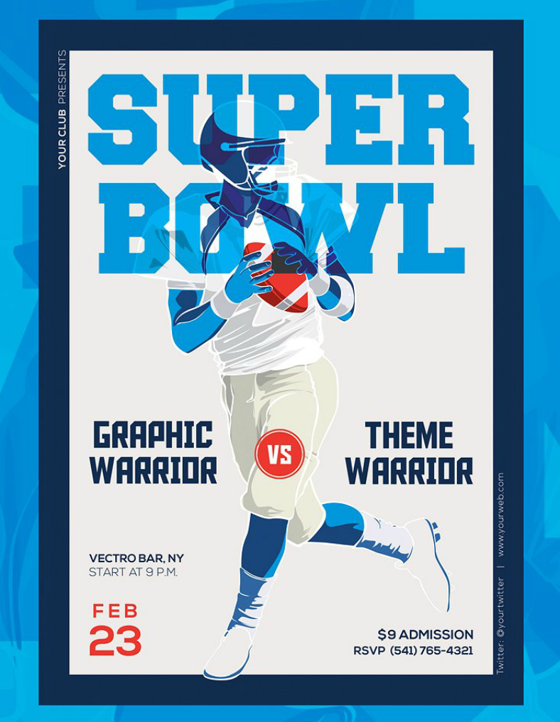 blue threshold effect super bowl flyer template 788x1017