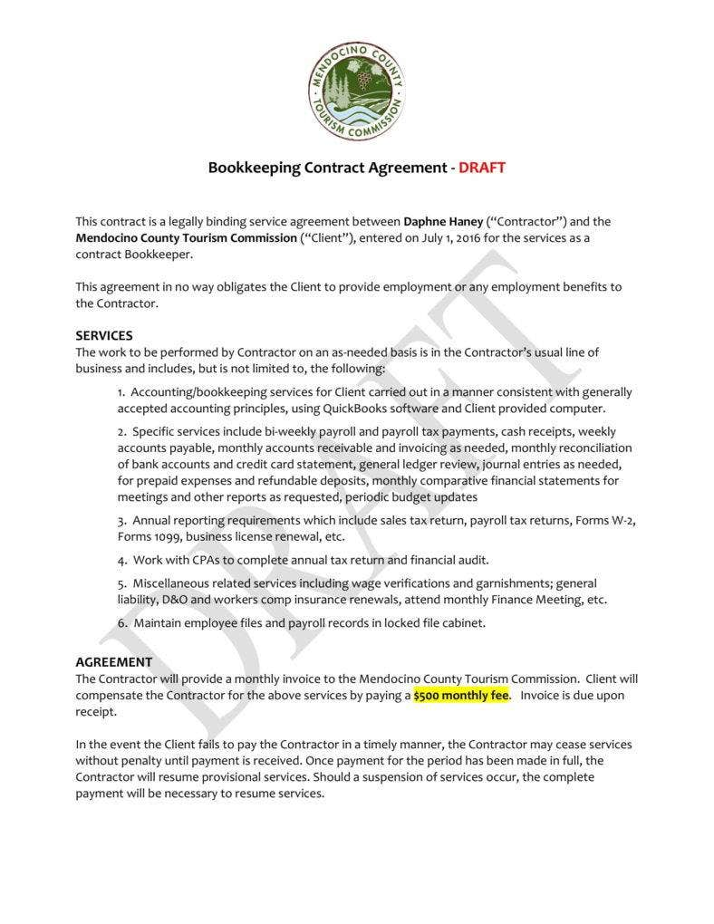 bookkeeping contract template free templates resume.html