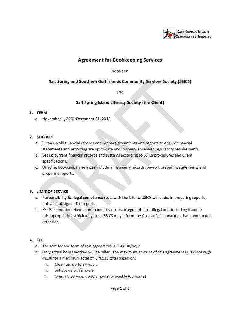 6+ Bookkeeping Contract Templates - PDF | Free & Premium Templates