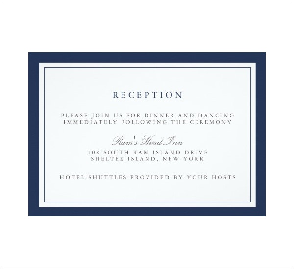 Border Wedding Reception Invitation Card