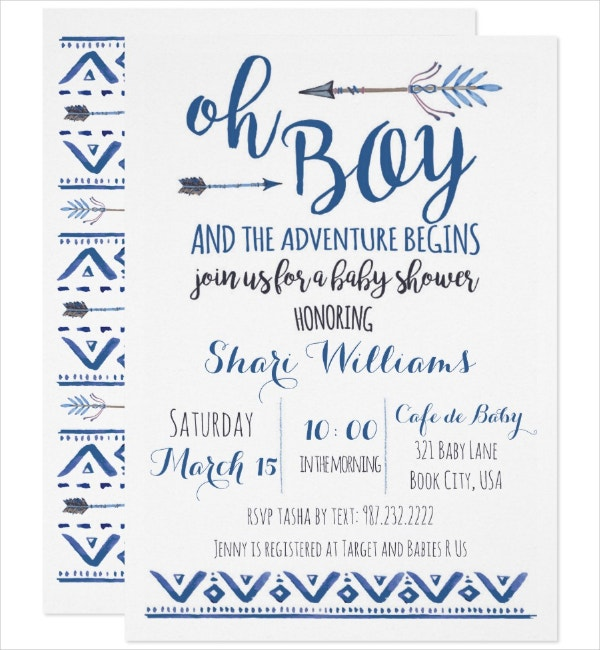 boy baby shower tribal invitation