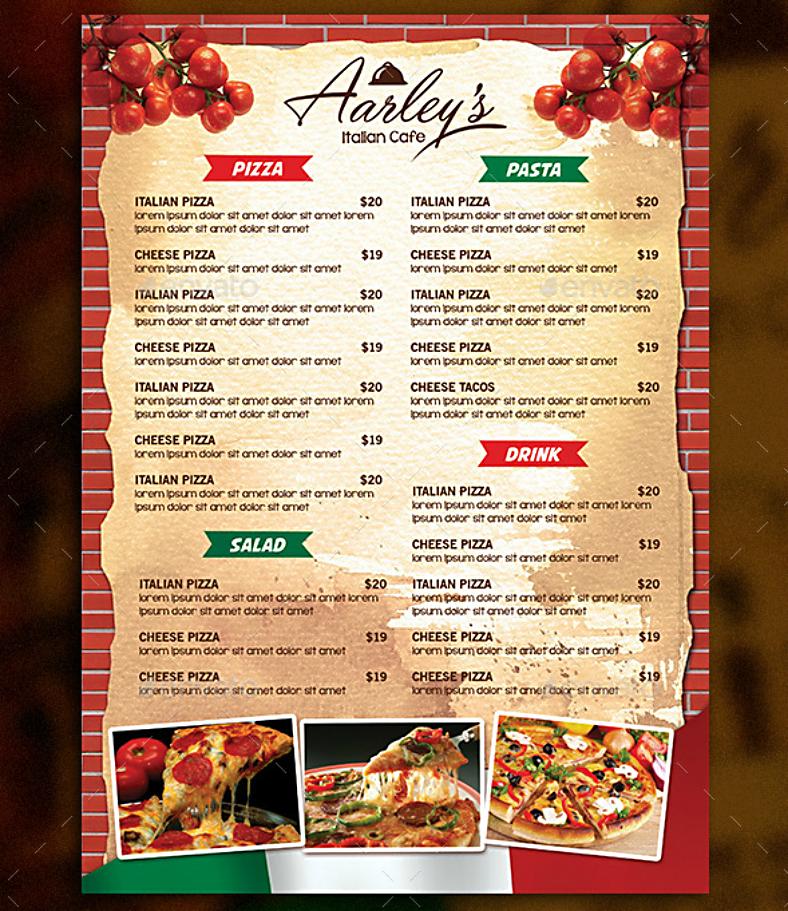 brick wall italian flag food menu template 788x911