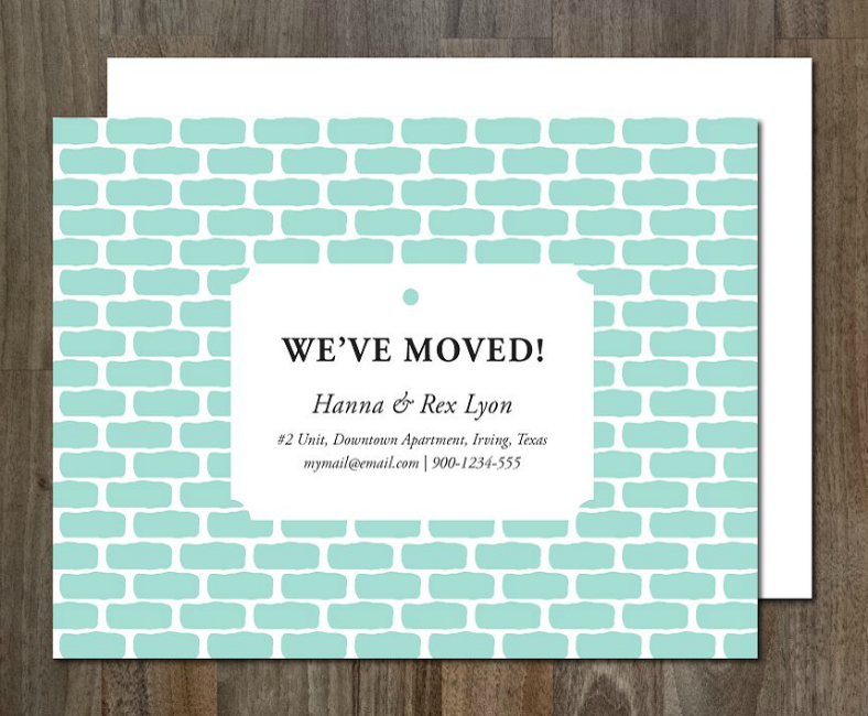 Brick Wall Moving Announcement Template