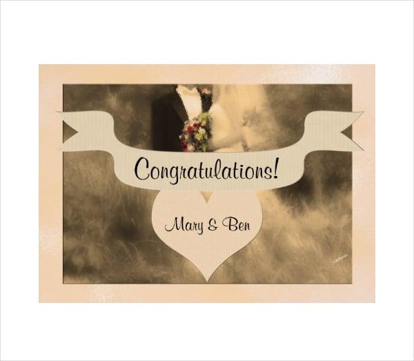 Bride and Groom Wedding Congratulation Card