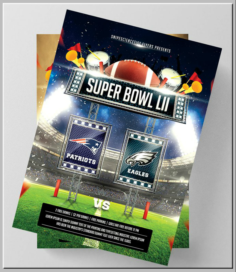 Bright Lights Super Bowl Flyer Template