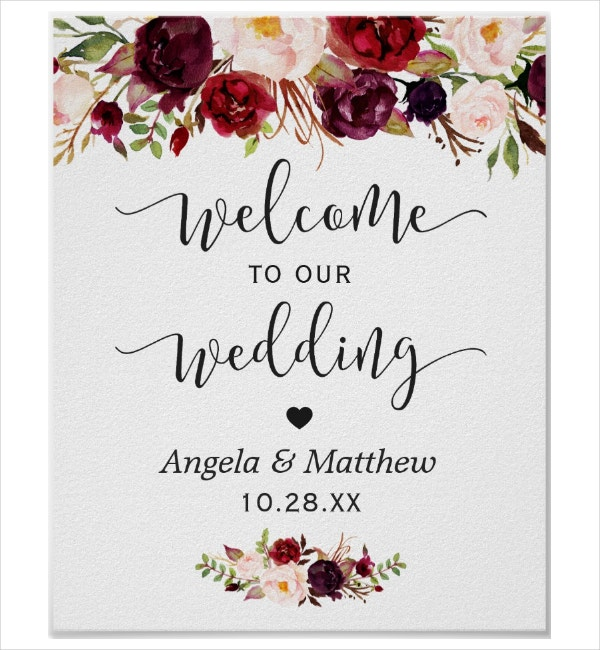 burgundy welcome signage template