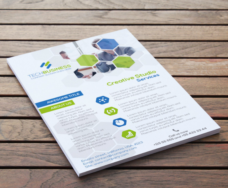 Business Technology Hexagon Flyer Template