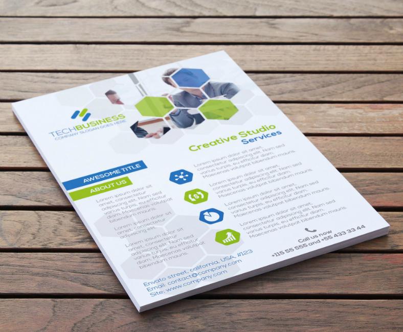 business technology hexagon flyer template 788x650