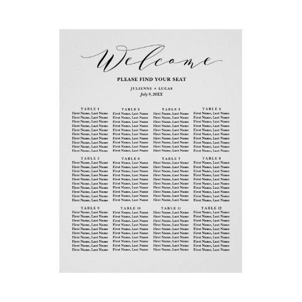 Calligraphy Wedding Seating Chart