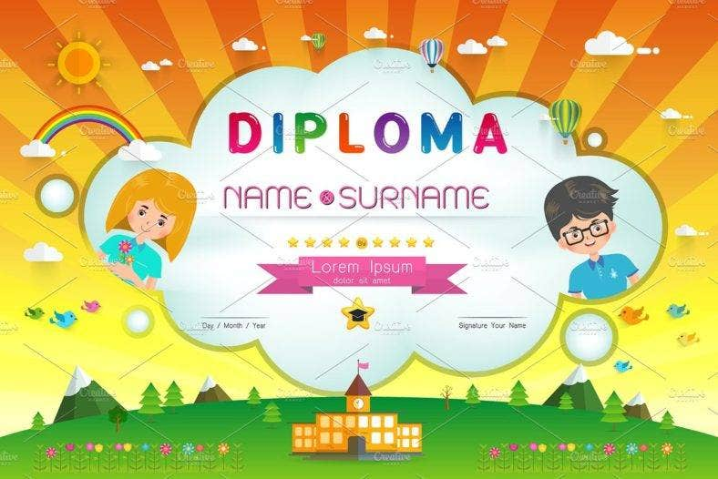 certificate kids diploma kindergarten template layout background 788x526