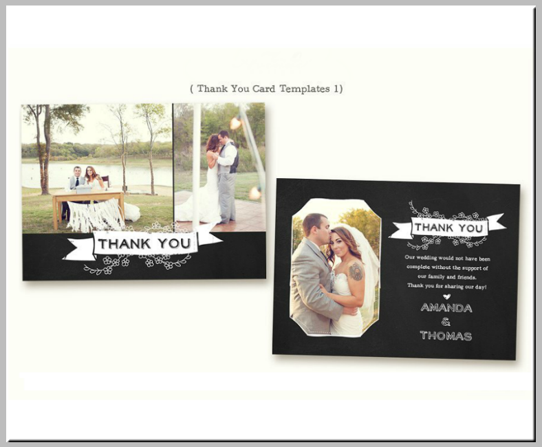 Chalkboard Beach Wedding Thank You Card
