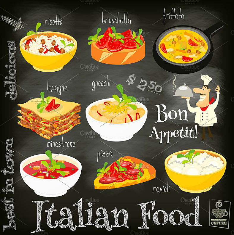 chalkboard flat illustrations italian menu template 788x794