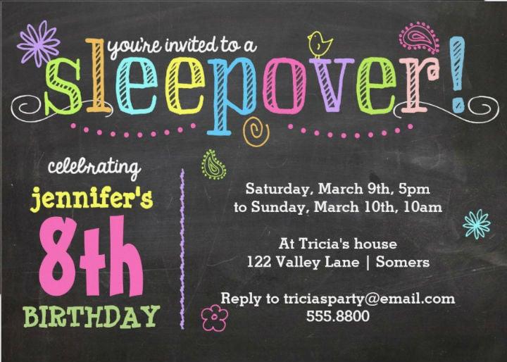 chalkboard-neon-birthday-sleepover-invitation-template