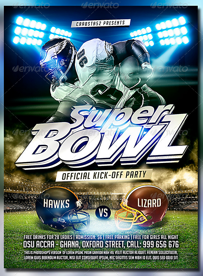 Charging Quarterback Super Bowl Flyer Template