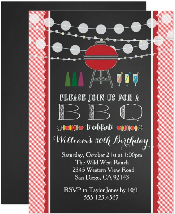 checkered bbq birthday invitation template