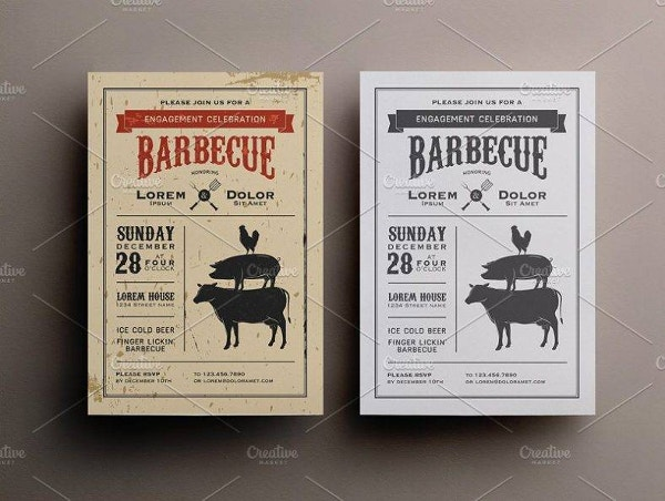 clean bbq birthday invitation template