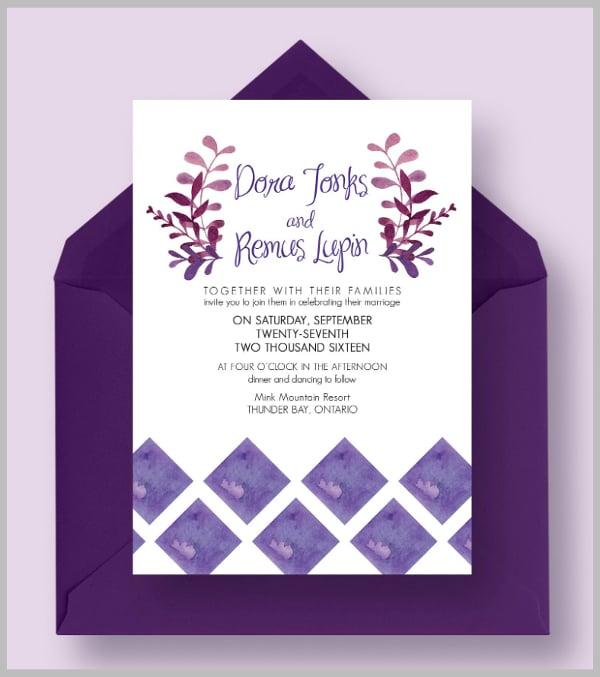 clean simple purple wedding invitation template