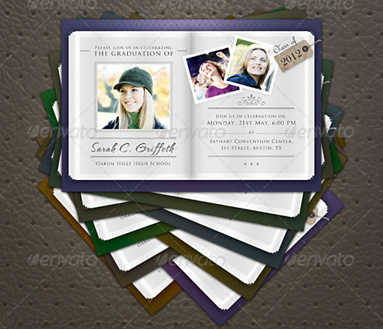 colored border graduation announcement template 788x678