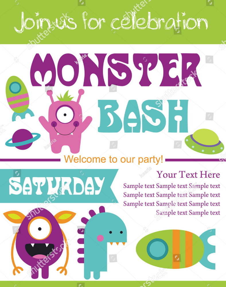 colorful monster bash invitation template 788x1000