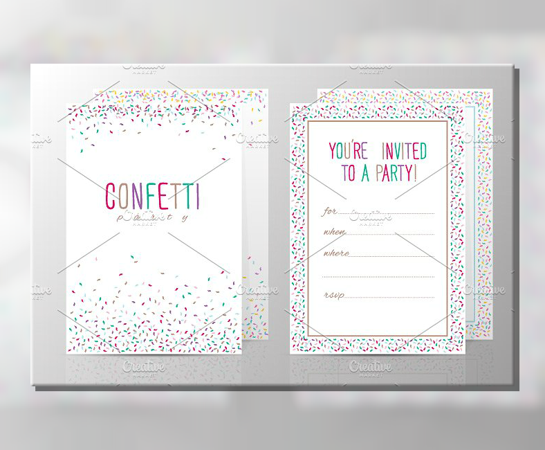 colorful party confetti invitation template 788x650