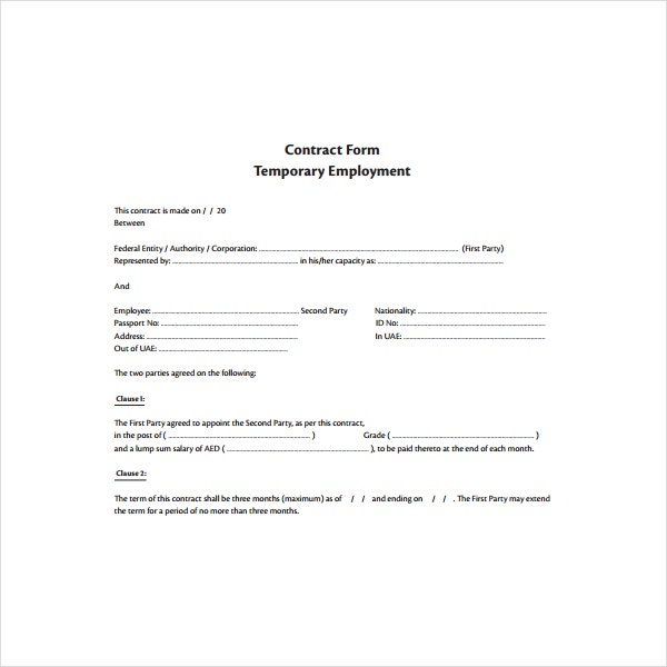 Contract Form for Temporary Employment