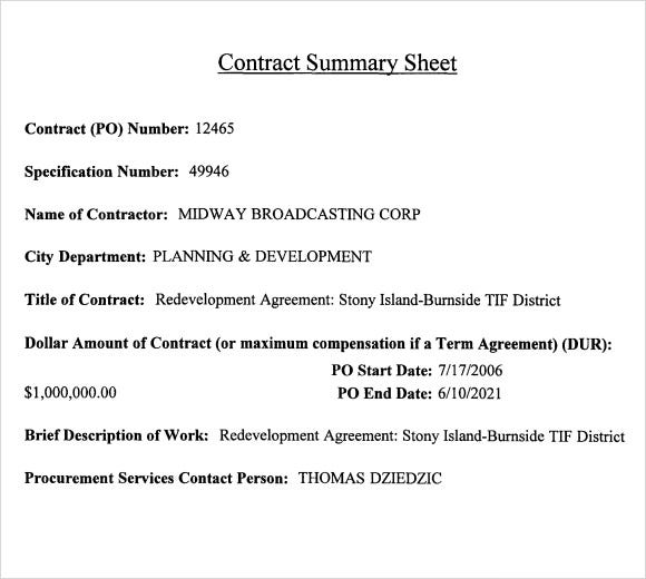 contract summary sheet template