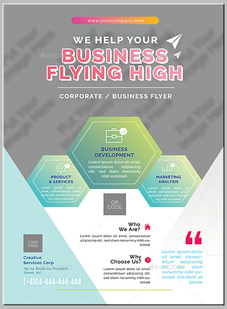Corporate Business Hexagon Flyer Template