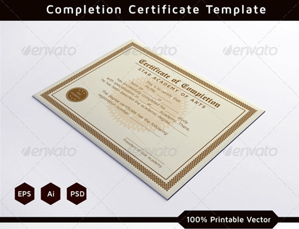 course completion certificate sample