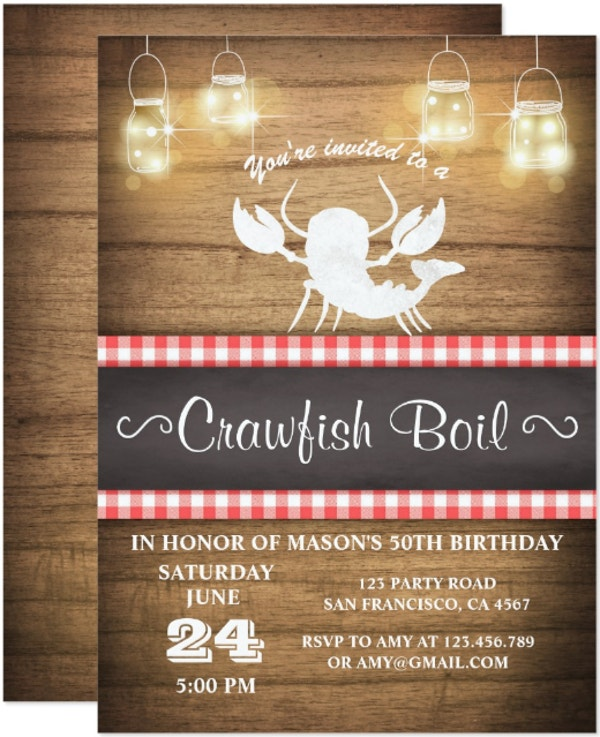 crawfish boil bbq birthday invitation template