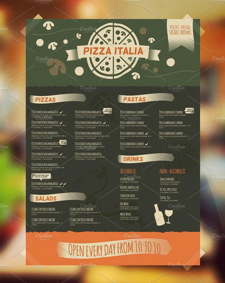 creative bi fold italian pizzeria menu template 788x991