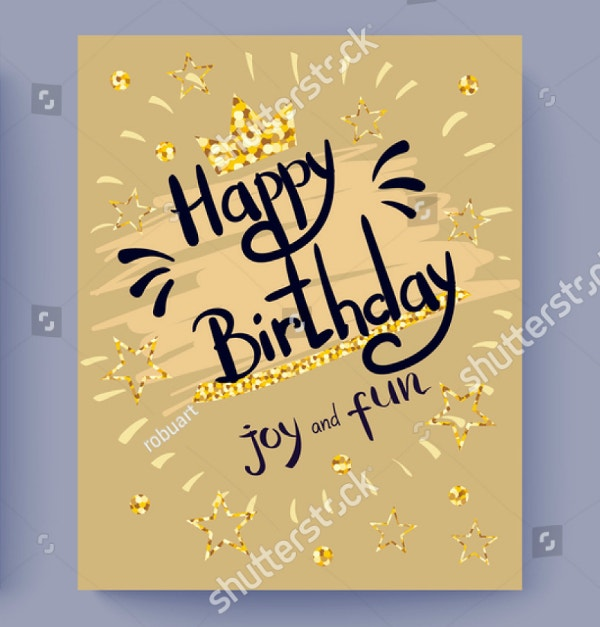Cute Glittery Golden Birthday Flyer Template