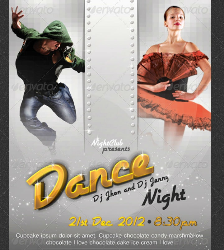Dance Night Party Poster Invitation Template