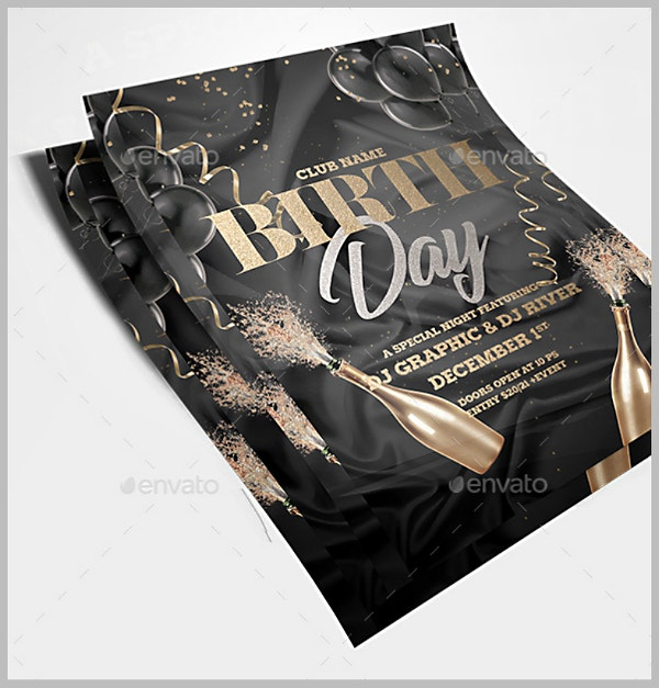 Dark Golden Birthday Flyer Template