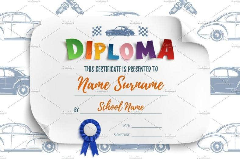 diploma-template-with-racing-cars