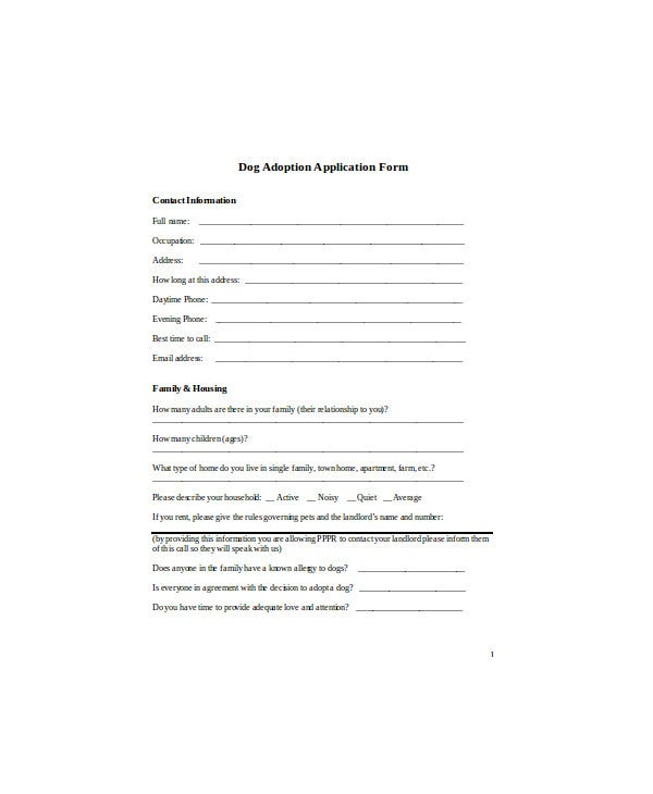 photograph about Pet Adoption Forms Printable named 9+ Pet dog Computer software Sort Templates - PDF, Document Cost-free