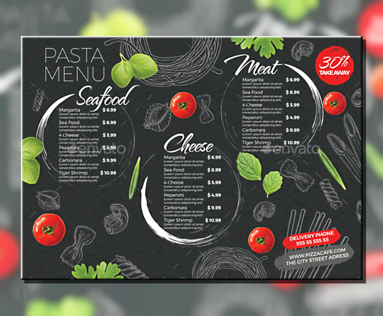Doodled Background Pasta Menu Template
