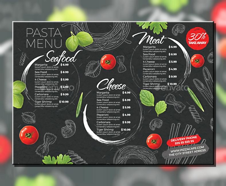 doodled background pasta menu template 788x650