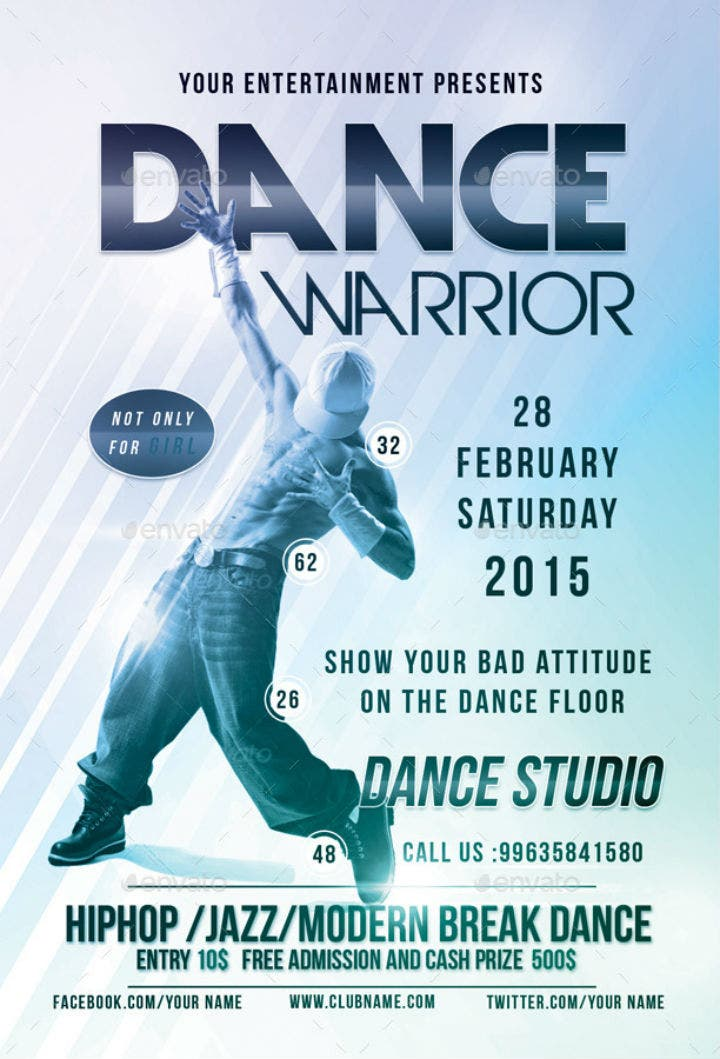 editable-dance-warrior-party-flyer-invitation-template