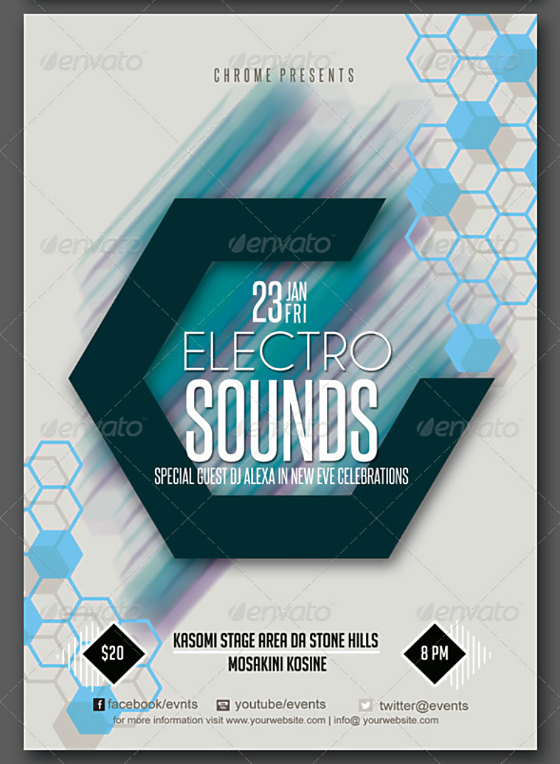 Electronic Sounds Hexagon Flyer Template