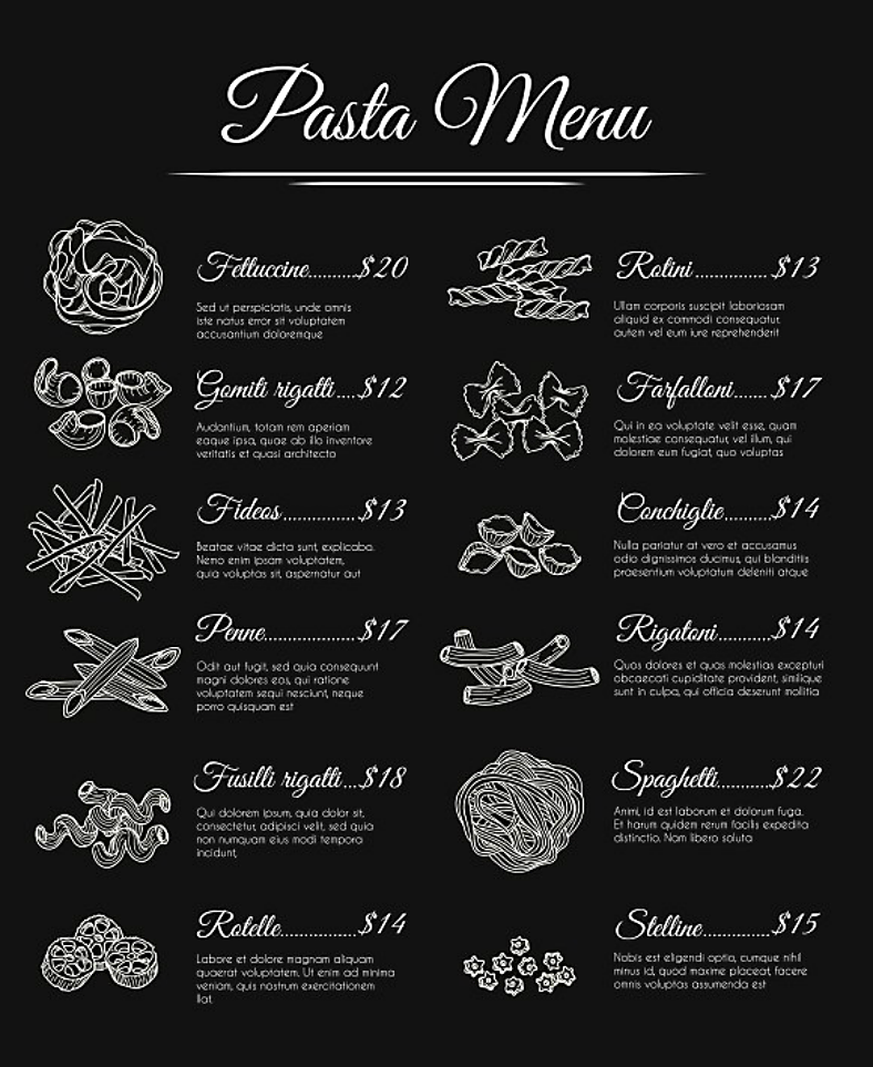 Elegant Achromatic Pasta Menu Template