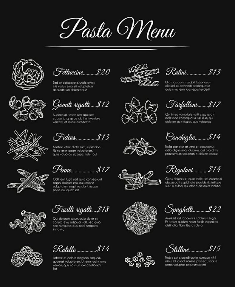 elegant achromatic pasta menu template 788x963