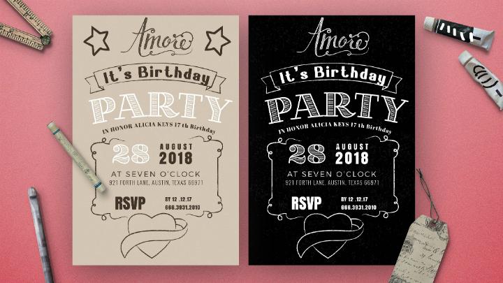 14 Creative Chalkboard Birthday Invitation Templates