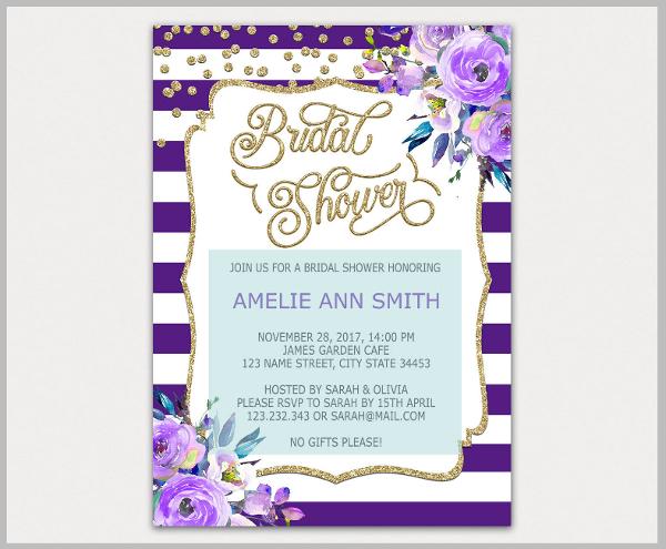 Elegant Gold and Purple Bridal Shower Invitation Template
