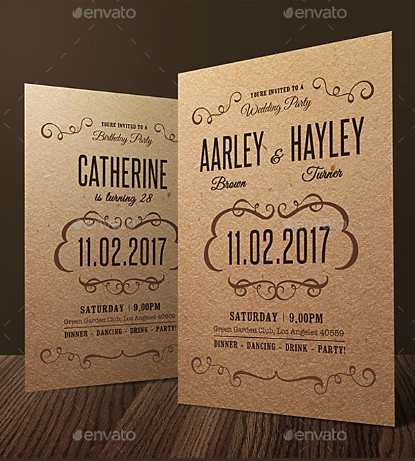 Elegant Ornate Wedding Brown Invitation Template