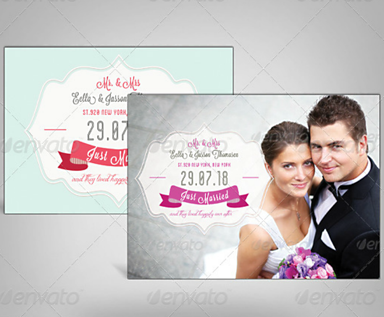 Elegant Postcard Style Wedding Announcement Template