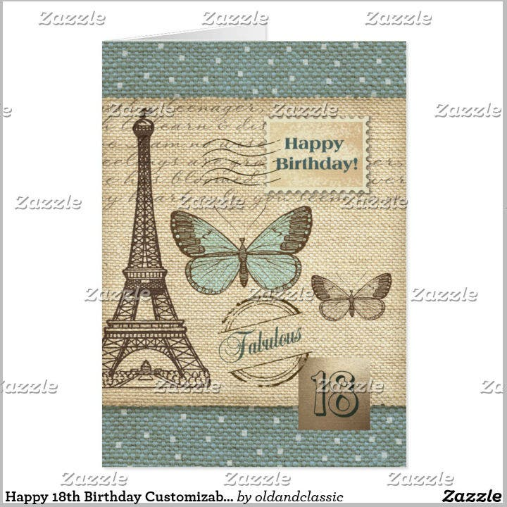 Elegant Printable Happy 18th Birthday Card